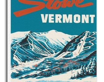 Travel Poster Vermont Ski Art Canvas Print Hanging Wall Decor xr648