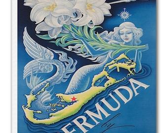 Vintage Bermuda Art Canvas Print Travel Poster Hanging Retro Wall Decor xr904