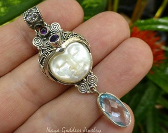 Silver and Mixed Gemstone Carved Shell Goddess Pendant NG-1243