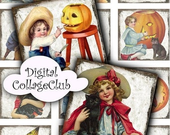 80 % off SaLe Vintage Halloween Kids Children Images for Jewelry Making. 1 Inch Digital Collage Sheets, Halloween Digital Images for Tiles