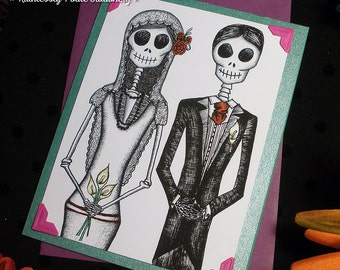 Bride + Groom in Sandia  / Calavera Wedding Handmade Greeting Card