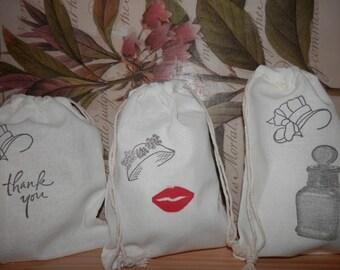 BRIDESMAIDS FAVOR GIFT Bags, Wedding Favor Bags, Hand Stamped Gift Bags, Bridesmaids Gifts, Bridegmaids Gift Bags, Bridesmaids Thank You