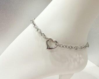 24/7 Stainless Steel Discreet BDSM Submissive Heart Anklet, Slave Anklet