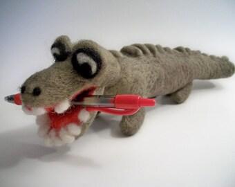 Felted Alligator, Felted Crocodile, Handmade Figure, FeltWithAHeart