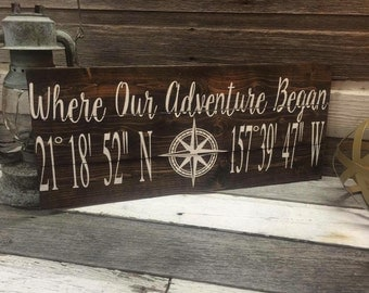 Where our adventure began/ coordinates Wedding Sign