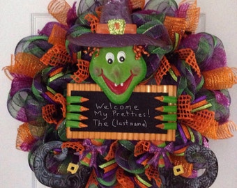 Welcome My Pretties Personalized Witch Halloween Handmade Deco Mesh Wreath