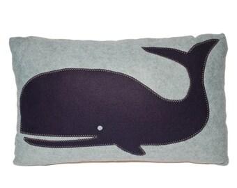 Navy Whale wool felt throw pillow, chair pillow,  rectangular, lumbar pillow, coastal home, beach house decor, The Salty Cottage