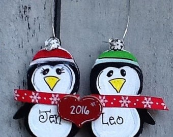 Penguin couple  ornament,  engagement ornament, first christmas ornament, anniversary ornament, wedding ornament, couple ornament