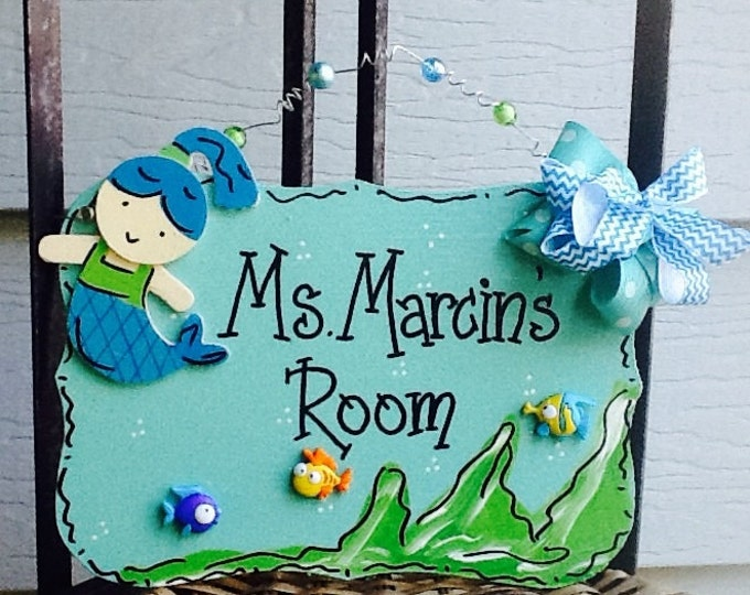 Girls room sign, nautical room sign, mermaid door hanger, children's name sign, girls room sign, Mermaid room sign, fish door sign,