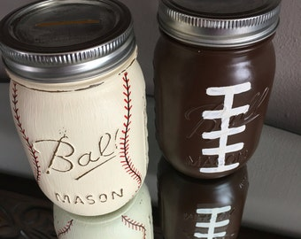 Mason Jar Piggy Banks~ Baseball Jar Bank ~ Football Jar Bank~ Thin Blue Line Jar Bank