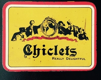 Vintage Chiclets Gum Yellow and Red Tin