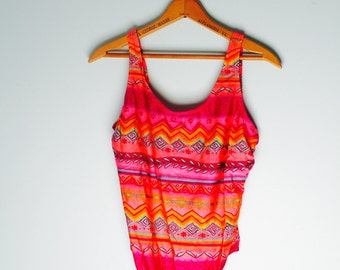 Bright and Fun Super 80s Tribal Swimsuit