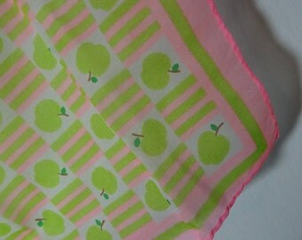 Vintage Women's White, Pink, and Green Graphic Chiffon Hair or Neck Scarf with Apples and Stripes