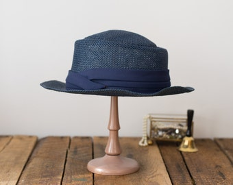 Vintage straw hat navy blue