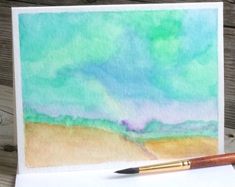 Watercolor Greeting Card. All Occasion Greeting Card. Abstract. Hand-painted. Original Art. Landscape. Sympathy. Teal/Green/Blue. OOAK