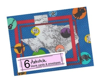 Texas State Cards - Map Stationery - Geography Cards - Blank Note Cards - Gift For Texan - State Stationery - Cowboy Cards -  Pack of Cards