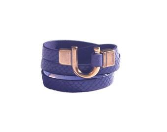 Leather Bracelet Wrap Blue Bronze Gold Clasp
