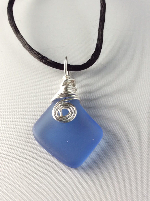 sea glass pendant necklace light sapphire blue silver wire