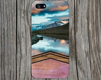 Watercolor Chevron Wood x Mountain Lake Phone Case for iPhone 6 6 Plus iPhone 7  Samsung Galaxy s8 edge s6 and Note 5  S8 Plus Phone Case