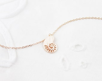 Tiny Shell of Turbo Charm Necklace Gold and Silver Turbo Necklace Dainty and Delicate Necklace Birthday Gift