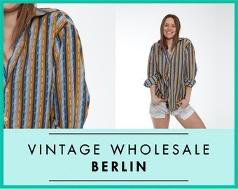 Vintage wholesale SHIRT, hippie, psychedelic, striped, Woodstock, butterfly collar, 70s, bulk lot prices, ready for wear or resale ID: 8394