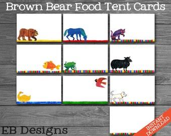 Brown Bear Food Tent Cards