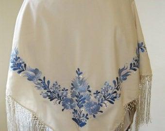 Hand embroidered Hungarian costume Matyo Kalocsa IVORY rayon shawl , hand embroidered shawl , scarf