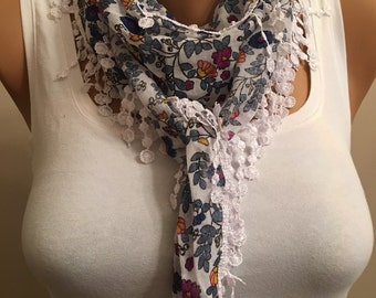 Lace Floral Scarf, Flower Scarf, Women's Fashion, Gift for Her, Gift for Her, Birthday Gift, Flower Scarf, Cotton Scarf