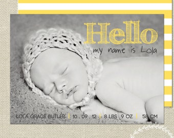 Baby Announcement Card / Birth Details Announcement Card / Baby Birth Details / Baby Boy Thank You Card Customised Baby Photo Card Yellow