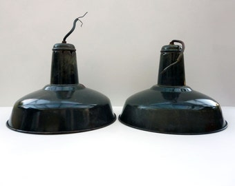 French Industrial Ceiling Lights, Pendant Lights, Vintage Enamel Lights, Vintage Industrial Lighting, French Industrial, French Lighting