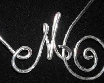 SILVER NECKLACE Collana Iniziale Nome Hand Made Italy Rame Battuto SILVER Gioielli Argento Artigianali Birthday Donna Dono Love