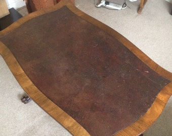 Rose Wood Leather Top Library Table