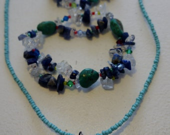 Turquoise, Lapiz, Quartz and glass beads neckless and bracelets...Christmas gifts