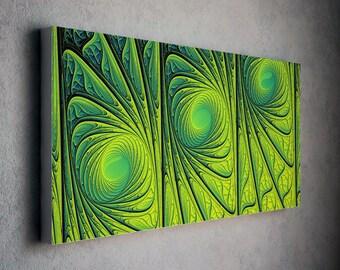 Distinct green modern art canvas print - tryptich composition