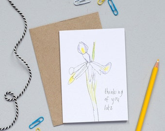 Thinking of You Sympathy Card - Thinking of You Card - Sympathy Card - Iris Card - Thoughtful Card - Get Well Soon Card