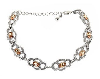 Women's .925 Sterling Silver Tennis Bracelet w. Orange CZ Stones