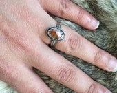 Mexican fire opal ring in Sterling silver