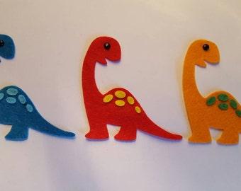x3 Felt Dinosaur Embellishments. Die cut shapes.Dinosaur craft.Card making, scrapbooking.free p&p