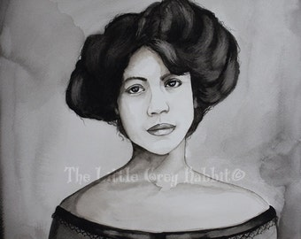 Original Watercolor, Black And White Painting, Portrait Watercolor, Vintage Style Art, Black Female Watercolor, African American Painting