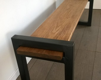 Bench design minimalist furniture or tv in oak and metal