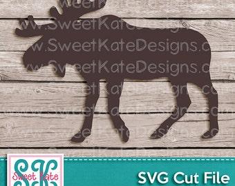 Moose Silhouette SVG JPG PNG {Can be a Scrapbook Die Cut or Heat Transfer Vinyl Cut} Cricut Explore - Instant Download Sweet Kate Designs
