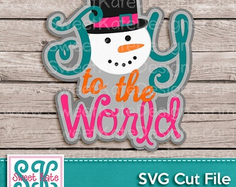 Joy to the World with Snowman SVG JPG PNG {Scrapbook Die Cut Heat Transfer Vinyl Cut} Cricut svg Silhouette svg Snowman svg Instant Download