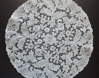 VINYL cream lace doily