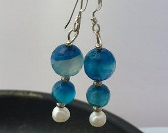 Blue agate eaarings