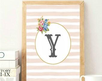 Y Monogram Print, Letter Y Wall Art, Nursery Monogram Art, Monogram Wall Decor, Monogram Letter Y, Baby Room Wall Art, Pink Nursery Wall Art