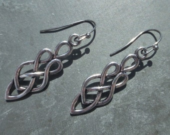 Silver Celtic Knot Earrings - Choice Of Stainless Steel, Hypoallergenic Titanium OR Sterling Silver Ear Wires