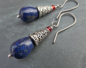 Bali Style Lapis Lazuli Tribal Silver Earrings With Hypoallergenic Titanium Ear Wires - Blue - Red - Boho - Gypsy - Festival -