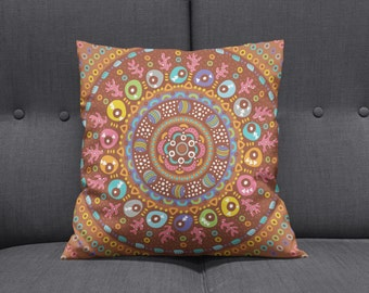 Boho Chic Hippie  Mandala Throw Pillows , Square , Rectangle , Many sizes Brown