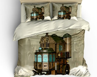 Steam Punk  Bedding, Comforter Cover, Duvet Cover, Steam Punk House Fantasy