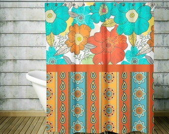 turquoise and coral shower curtain. Boho Chic Bold Floral Shower Curtain Optional Bath Mat Bathroom Set  Turquoise Dark Coral shower curtain Etsy